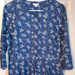 Gap size 14 long sleeve blue flower dress
